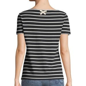 Kate Spade Broome Street Striped Boatneck Bow Top